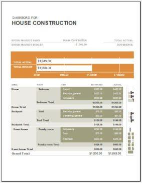 Construction cost calculator template