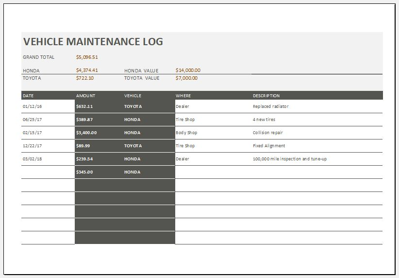 Vehicle Maintenance Log Template  Microsoft Excel Templates