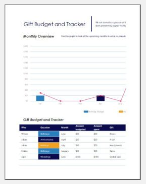 Gift budget and tracker log template