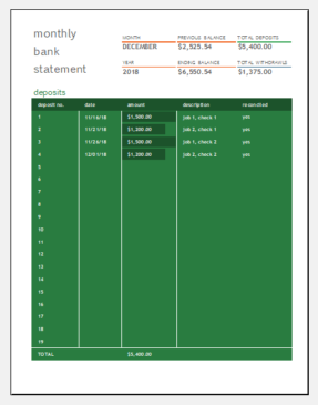 Monthly bank reconciliation template